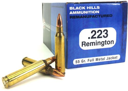 223 55 Grain FMJ Black Hills - 1000 Rounds, Factory Reman. BHM223R1