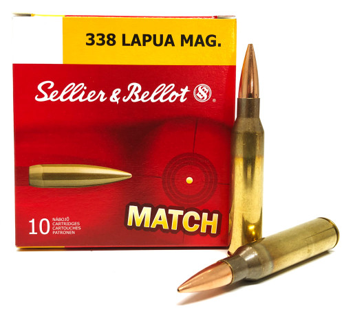.338 Lapua 250 Grain Sierra MatchKing HP-BT Sellier & Bellot - 10 Rounds, New SB338LMA