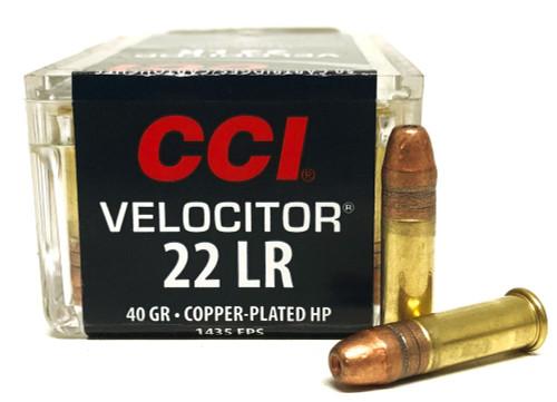 22 LR CCI Velocitor 40 Grain Copper Plated Lead Hollow Point CC0047