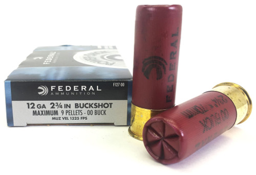 "12 Gauge Federal Power Shok 2 3/4"" 00 Buckshot 9 Pellet FDF127 00"