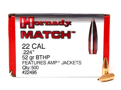 .223 Caliber (224 Diameter) Hornady Match 52 Grain BTHP BULLETS HO22495