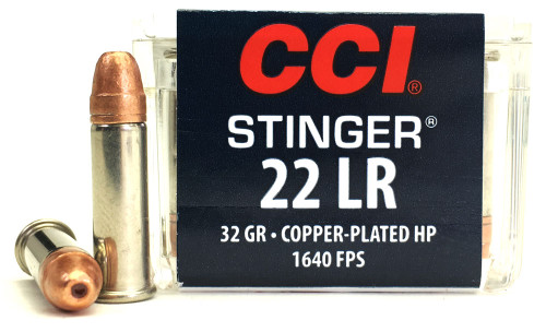 22 LR CCI Stinger 32 Grain Copper Plated Hollow Point CC0050