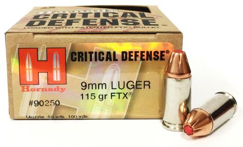 9mm 115 Grain FTX Hornady Critical Defense Ammunition 90250