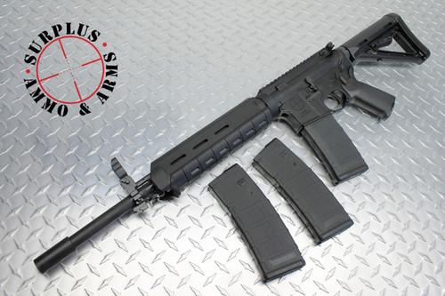 "Surplusammo.com | Surplus Ammo SAA Carbine Match 1:8 SS 16"" BHW Mid-Length YHM Flip Up Sight AR-15 Rifle  5.56 New, Nickel Boron Carrier, 3 Magpul MOE Mags, & Blackhawk Soft Case SAA-15-DRG-NB-MID-BHW16"