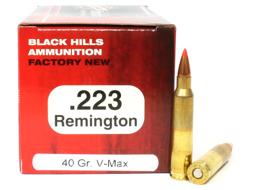 Surplusammo.com | Surplus Ammo .223 40 Grain V-Max Black Hills NEW-Red Box - FREE SHIPPING AVAILABLE!  BHD223N11