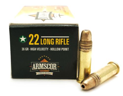 22 LR Armscor Precision 36 Grain High Velocity Hollow Point Ammo ACPP-22HV36HP