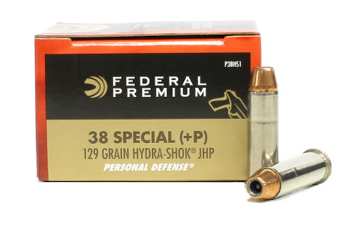 Surplus Ammo, Surplusammo.com 38 Special 129 Grain +P Hydra-Shok JHP Federal Vital-Shot Ammunition