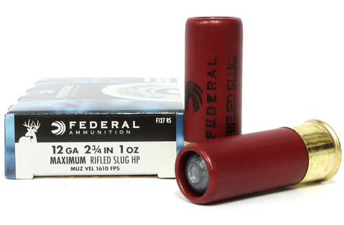 "12 Gauge Federal Power-Shok 2 3/4"" Maximum Rifled Slug HP 1oz F127 RS"
