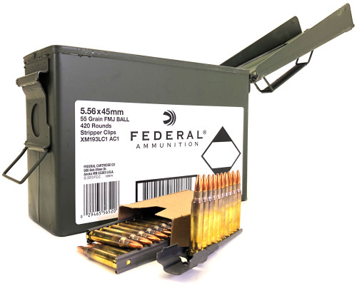 5.56 55 Grain FMJ-BT XM193LC1AC1 Federal Lake City - 420 Rounds on Stripper Clips in Ammo Can LCXM193LC1 AC1