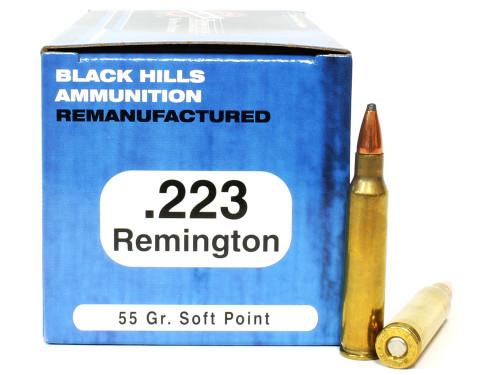 .223 55 Grain SP Black Hills - 500 Rounds, Factory Reman. BHD223R2