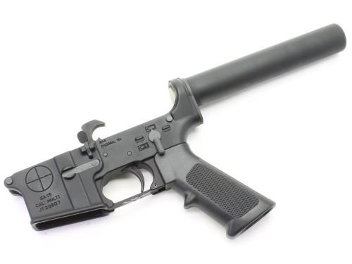 Surplusammo.com | Surplus Ammo SAA - SA-15 Reticle Logo AR15 Complete Lower with Pistol Tube SAA-SA15RL-PL