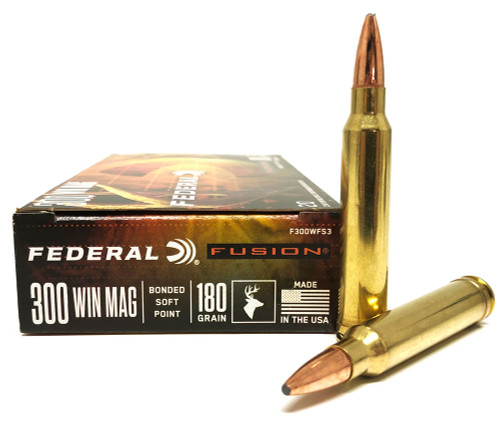 .300 Win Mag 180 Grain SBT Federal Fusion - 20 Rounds FDF300WFS3