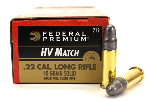 22 LR Federal Premium Gold Medal 40 Grain Solid High Velocity Match Ammunition FD719