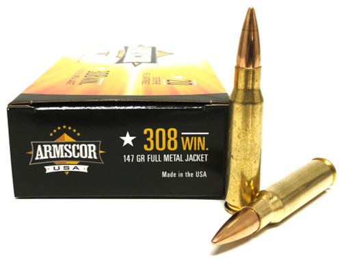 .308 Win 147 Grain FMJ Armscor USA - 20 Rounds AC308-1N-20