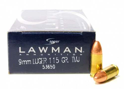 Surplus Ammo, Surplusammo.com 9mm 115 Grain TMJ Speer Lawman Pistol Ammunition 53650