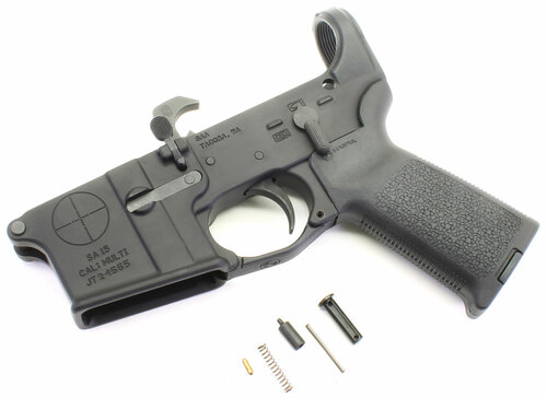 SAA SA-15 Reticle Logo AR15 Assembled Lower with MOE Pistol Grip and Trigger Guard - No Stock (SAA-SA15-MO-NOSTK