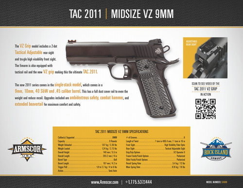 Rock Island Armory 9mm Mid-size Tactical 1911 MS - Pistol - 51699 -  M1911-A1 MS Tactical VZ Grip