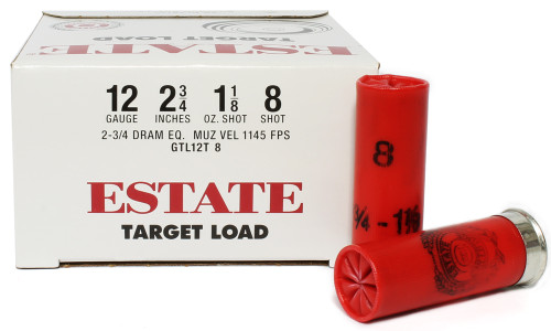 "Surplusammo.com 12 Gauge Federal Estate Game & Target Dove 2 3/4"" 1 1/8oz. #8 Shot - 25 Rounds FDGTL12T 8"