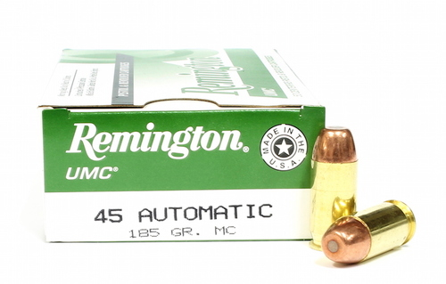 Surplus Ammo 45 ACP 185 Grain MC (FMJ) Remington UMC Pistol Ammunition Brass Metal Cartridge Full Metal Jacket