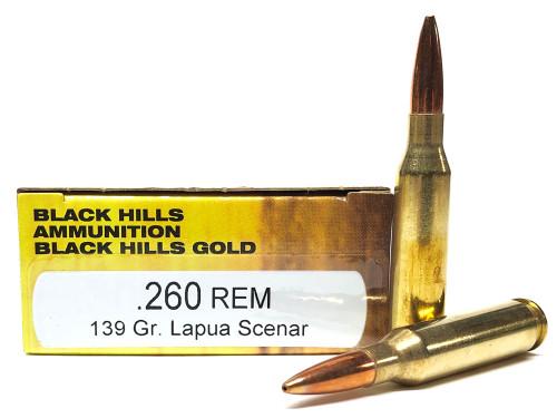 .260 Rem 139 Grain Lapua Scenar HPBT Black Hills Gold BH1C260REMBHGN1