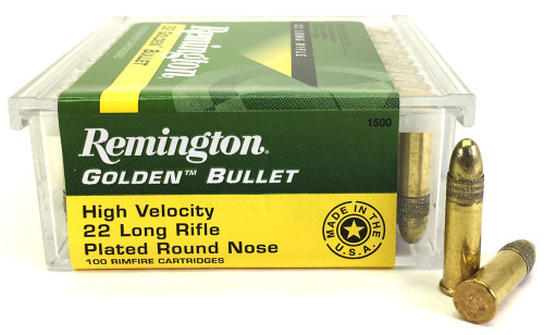 22 LR Remington Golden Bullet 40 Grain Plated Round Nose Ammo - 100 Rounds RM1500-100