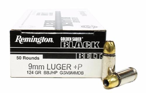 Surplus Ammo | Surplusammo.com 9mm 124 Grain BBJHP +P Remington Golden Saber BLACK BELT