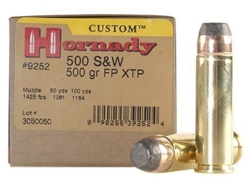Surplus Ammo   Surplusammo.com Hornady Custom 500 S&W Magnum 500 Grain XTP Jacketed Flat Point Ammunition