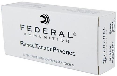 Surplus Ammo 40 S&W 165 Grain FMJ Federal Range.Target.Practice Ammunition RTP40165