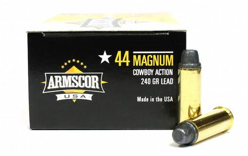 44 Magnum 240 Grain Lead SWC Cowboy Action Armscor USA -  50 Rounds