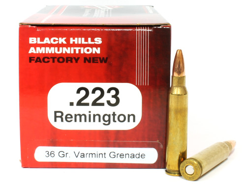 Surplus Ammo | Surplusammo.com .223 36 Grain Varmint Grenade Hollow Point Flat Based Lead Free Black Hills NEW Ammunition BHD223N15