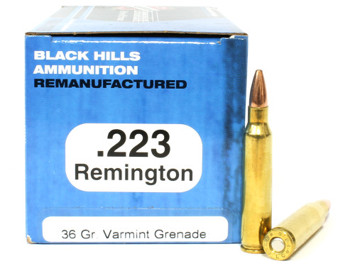 Surplus Ammo | Surplusammo.com .223 36 Grain Barnes Varmint Grenade Black Hills Ammunition - 50 Rounds, Reman BHD223R15