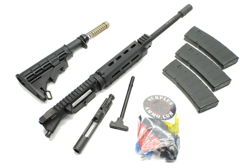 "Surplus Ammo, Surplusammo.com Buy 300BLK 16"" HBAR 1:7 Nitride M-LOK Carbine Length Upper Receiver, LPK, & Stock Kit - Rifle Kit Less Lower Receiver In Stock"