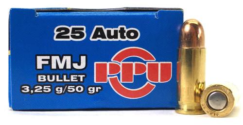 25 Auto 50 Grain FMJ Prvi Partizan PPH25