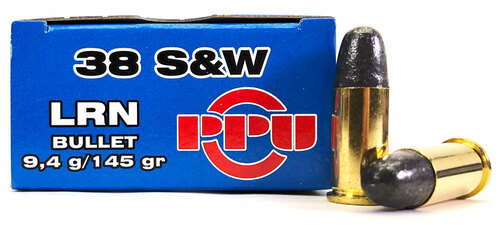 38 S&W 145 Grain LRN Prvi Partizan Ammunition - 50 Rounds PP-R3.7