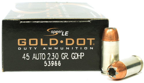 Surplus Ammo | Surplusammo.com Speer LE 45 ACP 230 Grain Gold Dot Hollow Point GDHP Ammunition