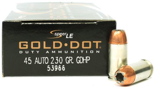 Surplus Ammo | Surplusammo.com Speer LE 45 ACP 230 Grain Gold Dot Hollow Point GDHP Ammunition