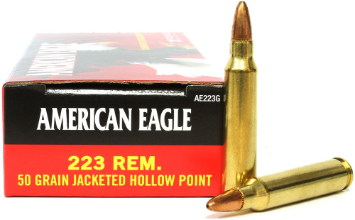 Surplusammo.com Federal .223 Ammo 50 Gr Jacketed Hollow Point American Eagle Ammunition AE223G