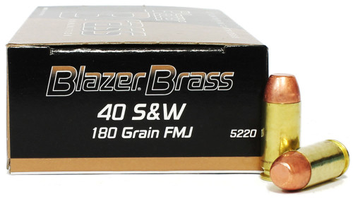 40 S&W 180 Grain FMJ Blazer Brass -   50 Rounds