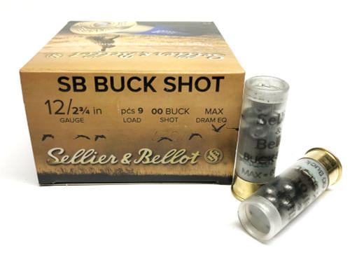 """12 Gauge Sellier & Bellot 2 3/4"""" 00 Buck 9 Pellets SB12BSG SB12BSG"""