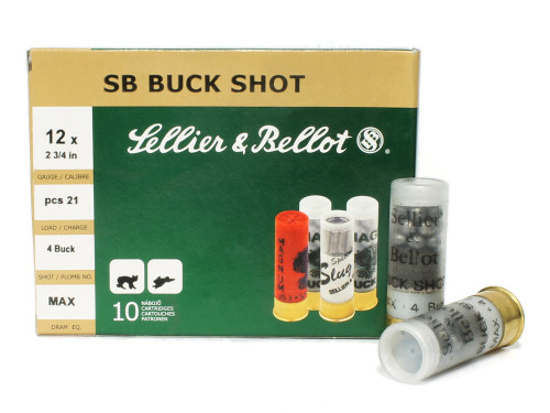 "Surplusammo.com | Surplus Ammo 12 Gauge Sellier & Bellot 2 3/4"" 4 Buck 21 Pellets SB12BSH SB12BSH, V212832U"