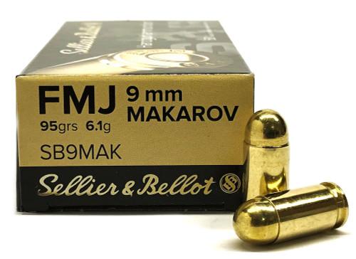 9x18 Makarov 95 Grain FMJ Sellier & Bellot Ammo SB9MAK