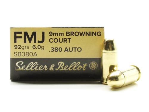 .380 Auto 92 Grain FMJ Sellier & Bellot Ammunition SB380A