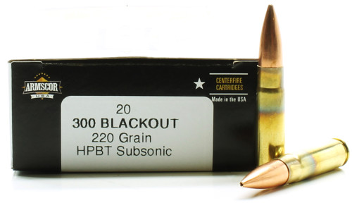 300 AAC Blackout 220 Grain HPBT Subsonic Armscor USA - 20 Rounds AC300AAC-3N