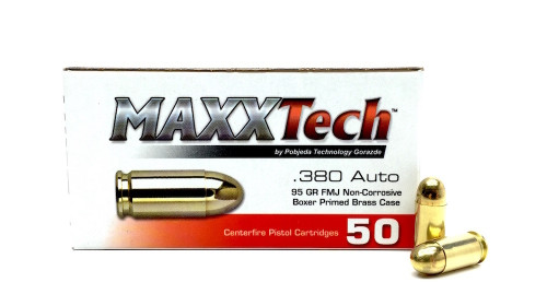 Surplus Ammo | Surplusammo.com .380 Auto 95 Grain FMJ MAXXTech Ammunition