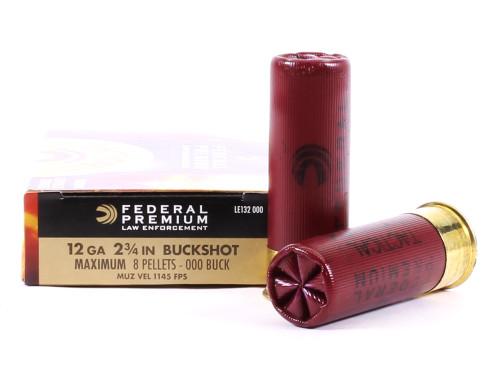 """Surplus Ammo   Surplusammo.com 12 Gauge Federal Premium LE 2 3/4"""" 8 Pellet 000 Buckshot  FDLE132 000"""