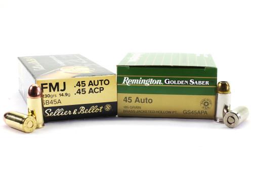 Surplusammo.com | Surplus Ammo 45 ACP 230 gr. FMJ Sellier & Bellot- 50 rds + 45 ACP 185gr. JHP Remington Golden Saber - 25 rds Ammunition
