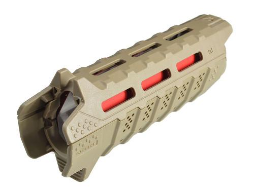 Surplus Ammo   Surplusammo.com Strike Industries Viper Handguard Carbine Length - Flat Dark Earth (FDE) with Red Heat Shield (SI-VIPER-HG-CFDE-BK)
