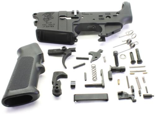 SAA SA15 Grim Reaper Logo AR15 Stripped Lower Receiver + Lower Parts Kit - Unassembled SAA-SA15GR-STPD+LPK