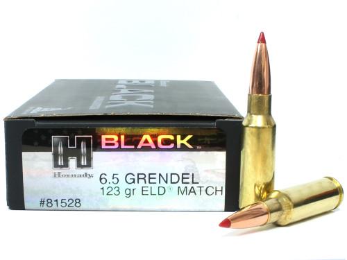 6.5 Grendel 123 Grain ELD Hornady Black Ammunition - 20 Rounds HO81528