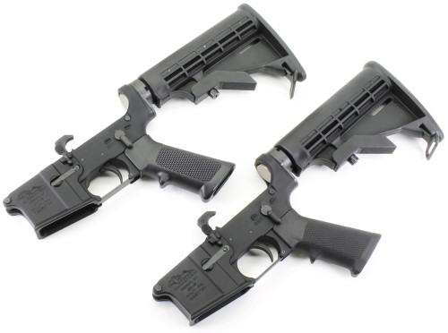 Surplusammo.com | Surplus Ammo Anderson AM-15 AR15 Complete Lower  with Collapsing Stock & Open Trigger Guard AR-15 Complete Lower Receiver AND-AM15T-UM-6-2 PACK